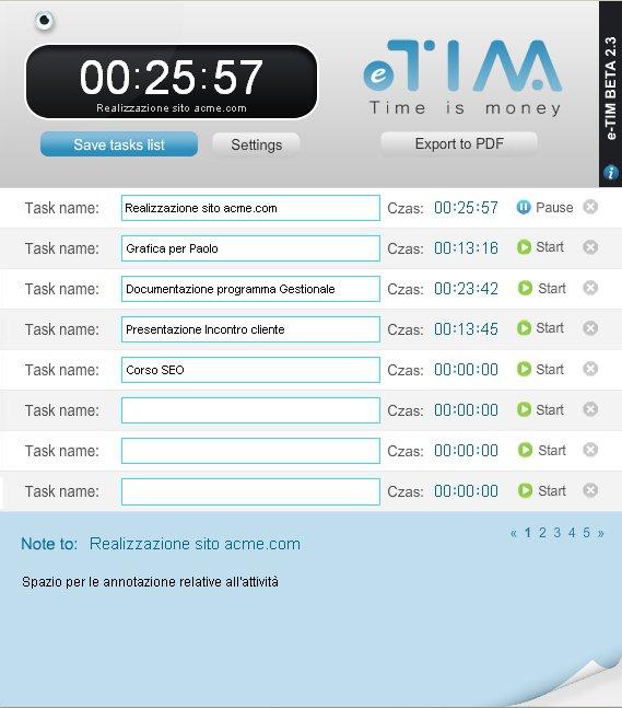 eTIM - tracciamento dei tempi delle attività