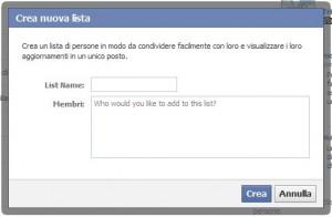 facebook crea liste amici