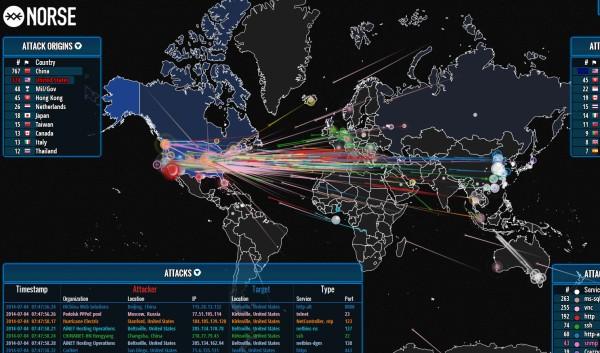 La mappa che rivela i cyber attacchi in tempo reale