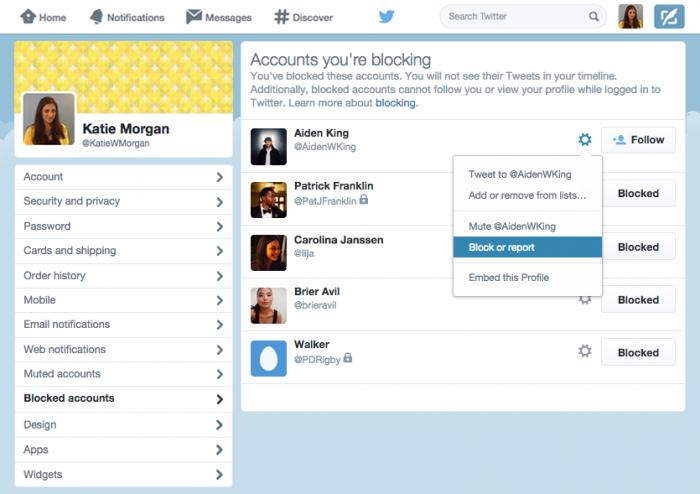 Lista utenti bloccati Twitter