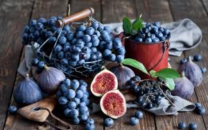 fichi mirtilli uva