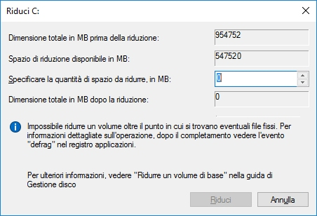 ridurre windows 4