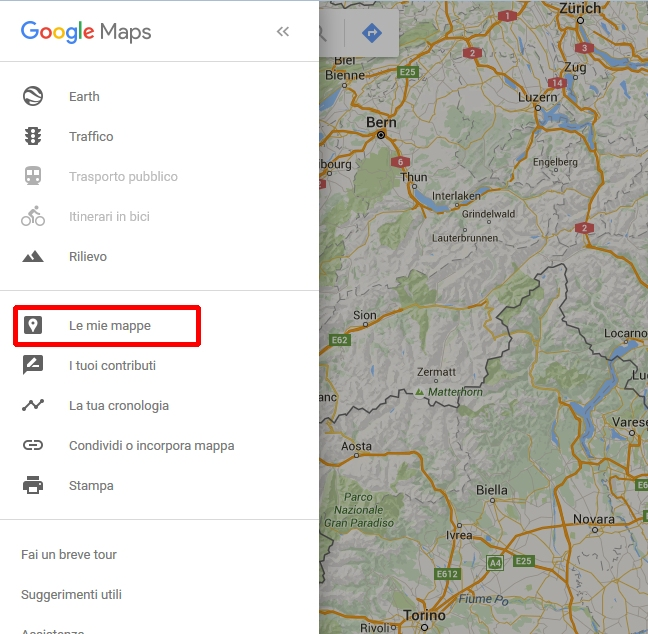 google maps menu