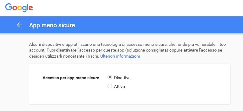 google app meno sicure