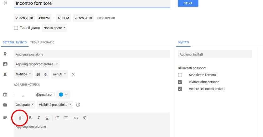 Allegati eventi in Google Calendar